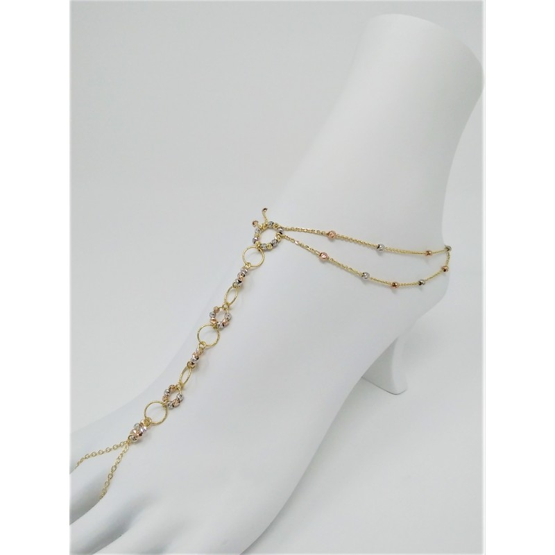 gold chain stations link anklet shop puffed dainty yellow bracelet arrivals mariner new or
