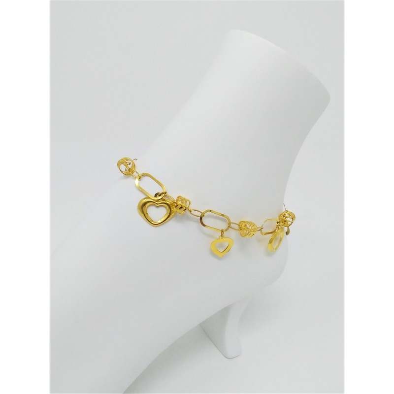 loading image heart bracelet s grams yellow is gold itm ebay leg anklet ankle shape
