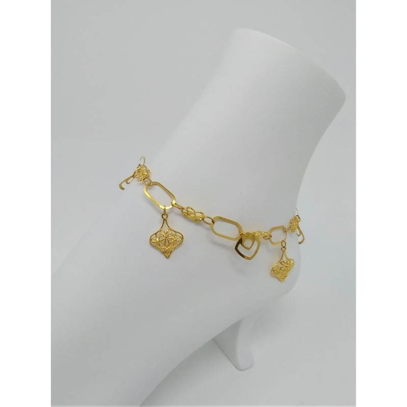 in yellow gold belcher anklet